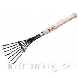 Грабельки ЗУБР садовые с деревянной ручкой, 7 плоских зубцов