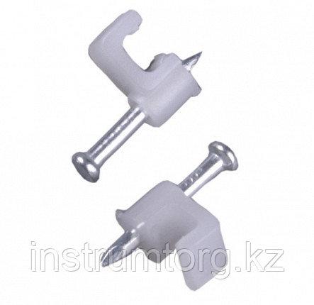 Скоба-держатель прямоугольная, 6 мм, 100 шт, с оцинкованным гвоздем, STAYER