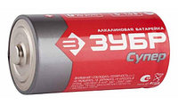 "Батарейка Зубр ""TURBO"" щелочная (алкалиновая), тип AA, 1,5В, 4шт на карточке"