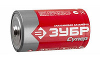 "Батарейка Зубр ""TURBO"" щелочная (алкалиновая), тип D, 1,5В, 2шт на карточке"