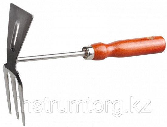Мотыжка GRINDA прямое лезвие, из нержавеющей стали с деревянной ручкой, 3 зубца, 250 мм