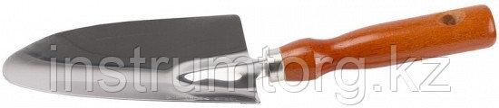Совок GRINDA посадочный широкий из нержавеющей стали с деревянной ручкой, 290 мм