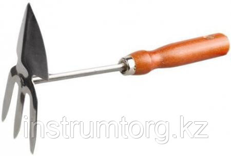 Мотыжка GRINDA сердцевидное лезвие, из нержавеющей стали с деревянной ручкой, 3 зубца, 250 мм