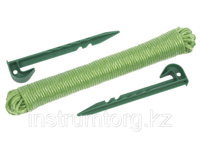 Набор GRINDA садовый, 3 предмета: веревка садовая разметочная, два колышка