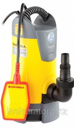 Насос GRINDA д/грязной воды погружной, пропускная способность 13500 л/час, высота подачи воды 8 м, 750 Вт