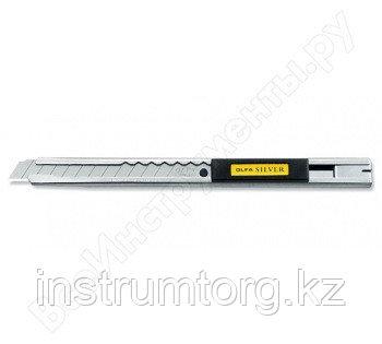 Нож OLFA с выдвижным лезвием и корпусом из нержавеющей стали, 9мм