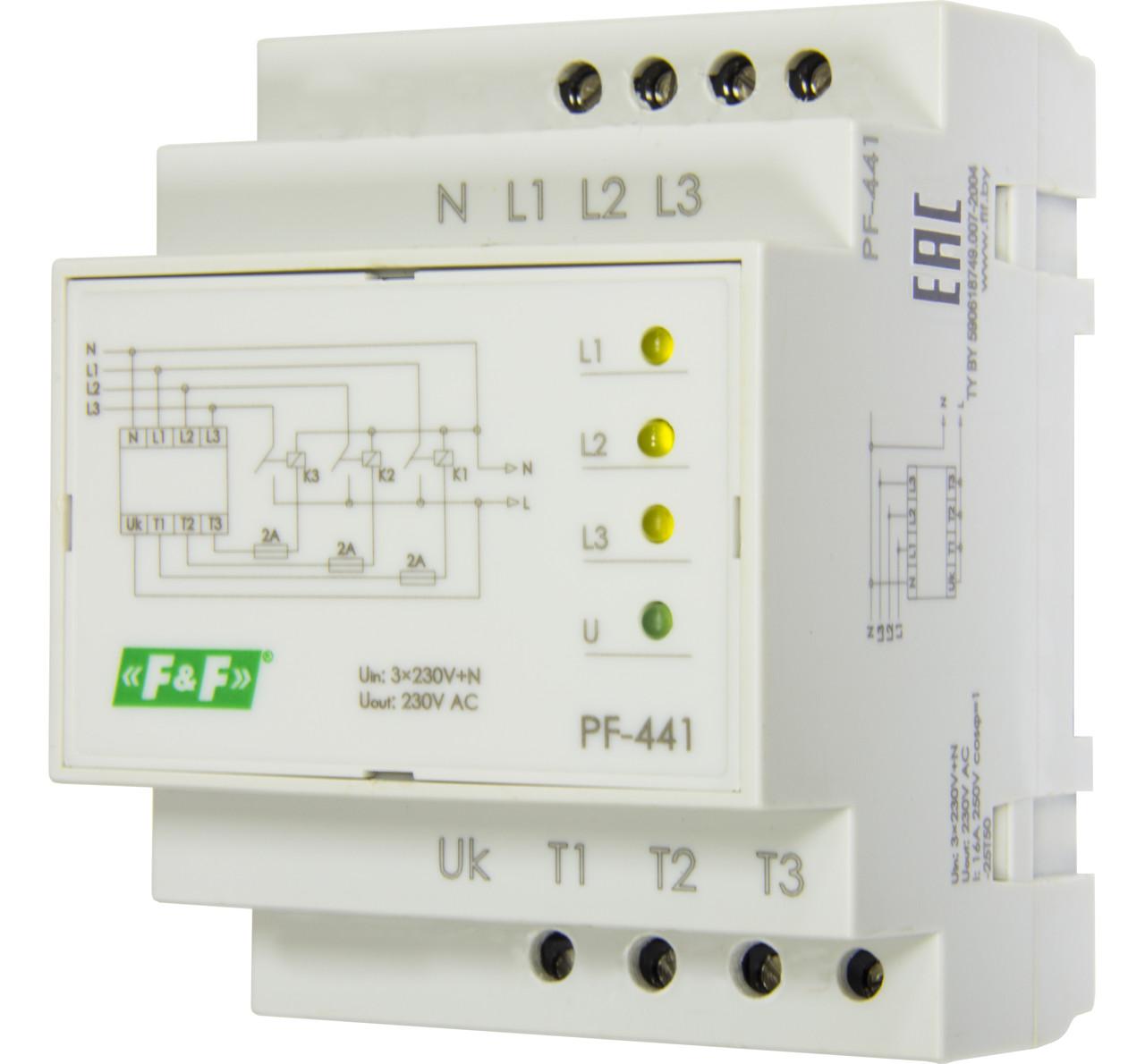 PF-441 Переключатель фаз автоматический Для работы с однофазными генераторами. Порог переключения: 150-270, 16
