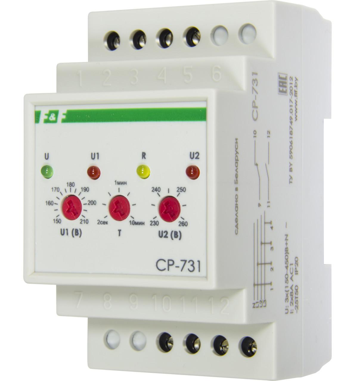 CP-731 Реле напряжения, контроль асимметрии, чередования, слипания фаз, контакт 1NO, 1NC, 8 А.