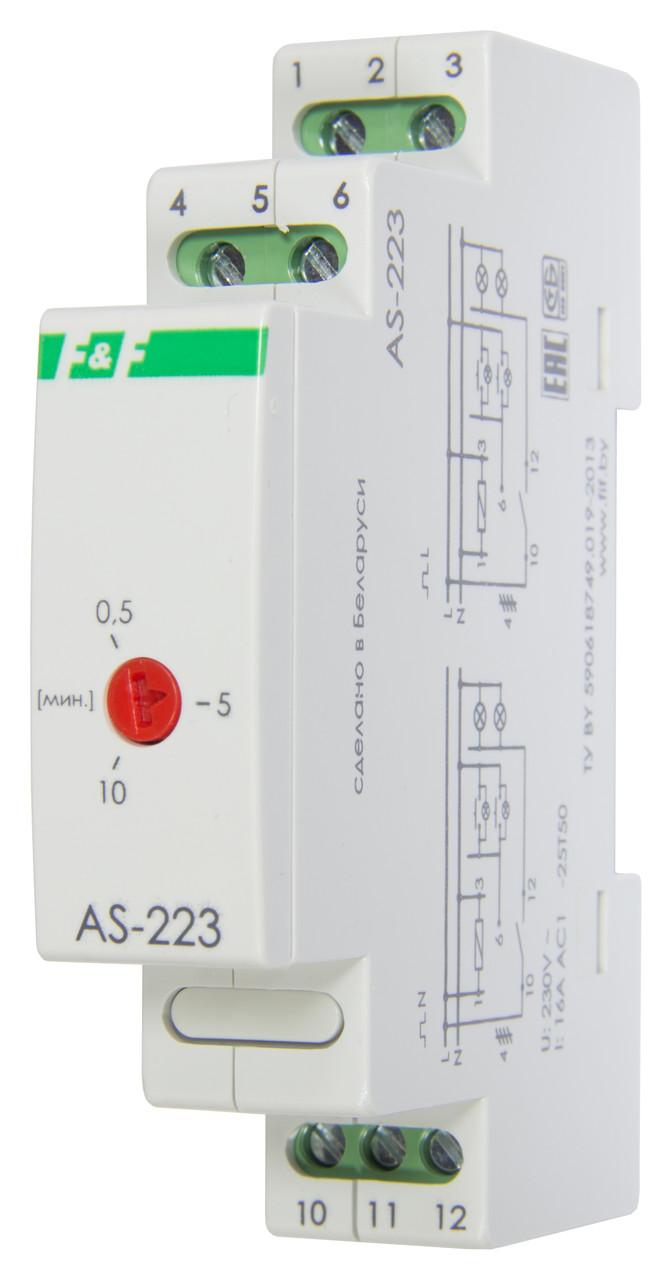 AS-223 Автомат лестничный (таймеры выключатель), Максимальный ток 16 А. Монтаж на DIN-рейку,