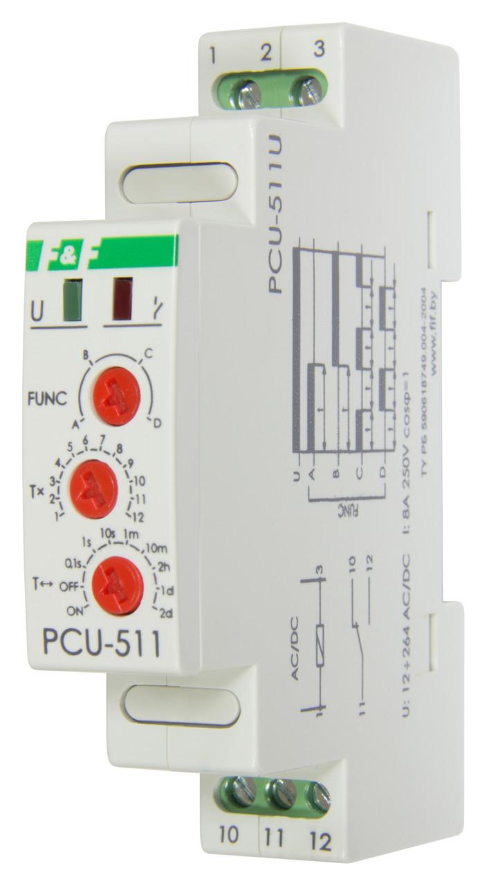 PCU-511U Реле времени, Напряжение 12-264В АС/DC, Контакт 1NO/NC, Выдержка времени 0,1 сек. – 24 суток, 8А