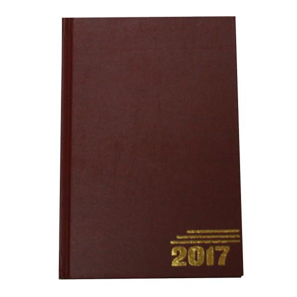 Ежедневник датированный, формат А5, 2017г, бордовый
