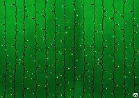 Светодиодный дождь без контроллера, 2х1,5 м зеленые диоды / черный провод