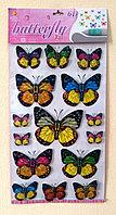 """Набор наклеек """"Бабочки"""" 6D, цветные, 15шт., фото 1"""