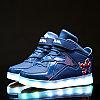 LED Кроссовки детские со светящейся подошвой, Spiderman синие, 37
