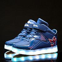 LED Кроссовки детские со светящейся подошвой, Spiderman синие, 37, фото 1