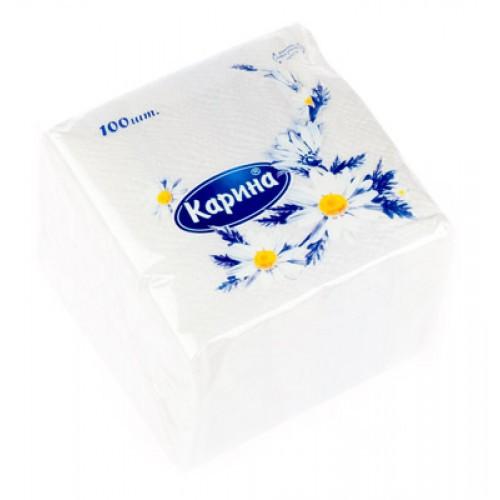 Салфетки Карина, 1-слойные, 100 шт., размер листа 24*24 см, белые
