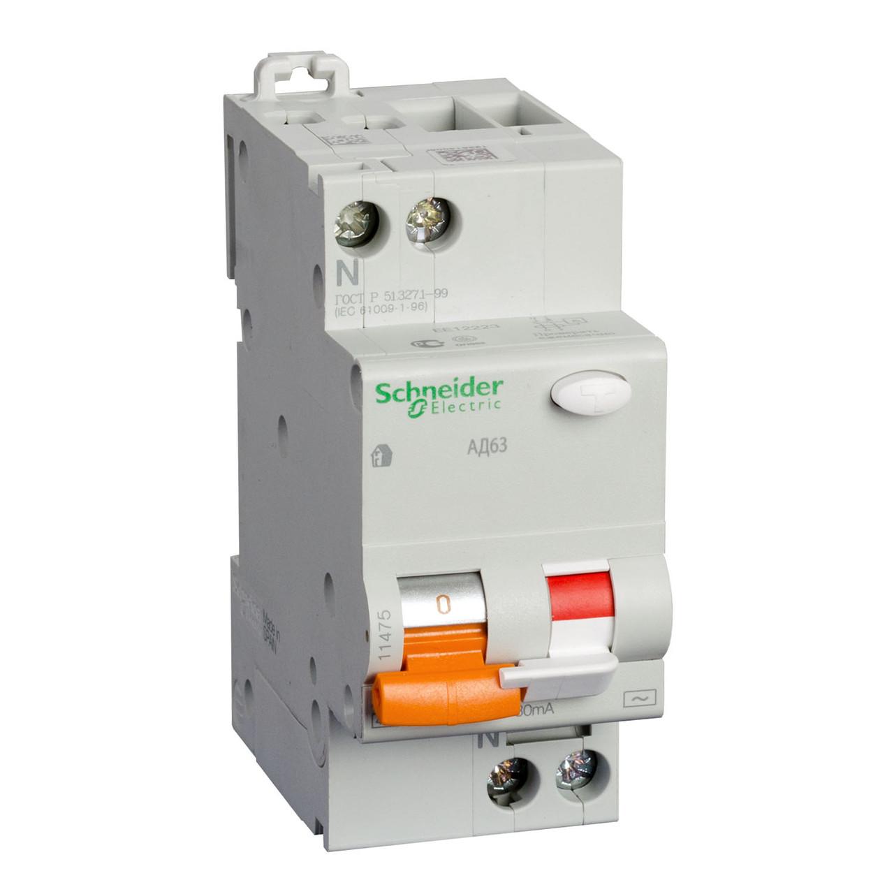 11474 Дифференциальный автоматический выключатель АД63 1П+Н 25A 30 мA 4,5кА C АС, Испания