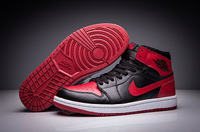 """Кожаные кроссовки Air Jordan 1 Retro """"Bred"""" (36-47)"""