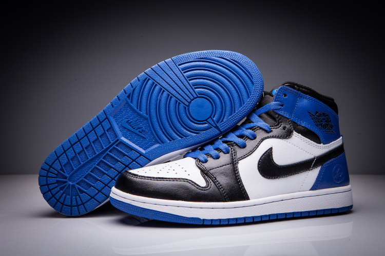 "Кожаные кроссовки Air Jordan 1 Retro ""Black/Blue/White"" (36-47)"
