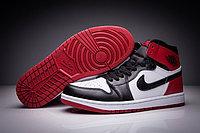 "Кожаные кроссовки Air Jordan 1 Retro "" Black/White/Red"" (36-47)"