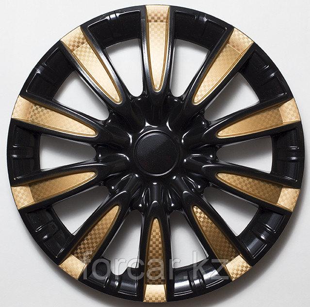 Колпак колесный 14 ТОРНАДО микс черно-золотой глянец карбон (2 шт.)