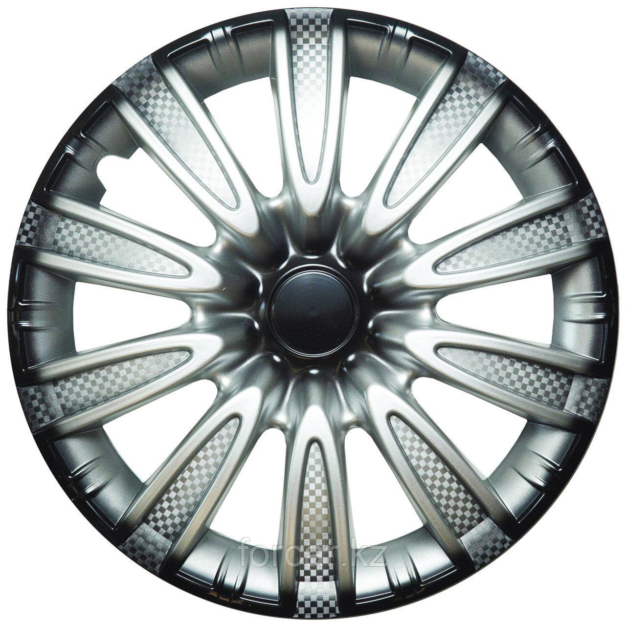 Колпак колесный 14 ТОРНАДО серебристо-черный карбон (4 шт.)