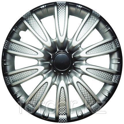 Колпак колесный 14 ТОРНАДО серебристо-черный карбон (4 шт.), фото 2