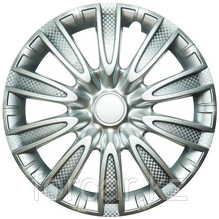 Колпак колесный 15 ТОРНАДО серебристый карбон (4 шт.), фото 2