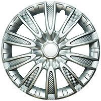 Колпак колесный 15 ТОРНАДО серебристый карбон (4 шт.)