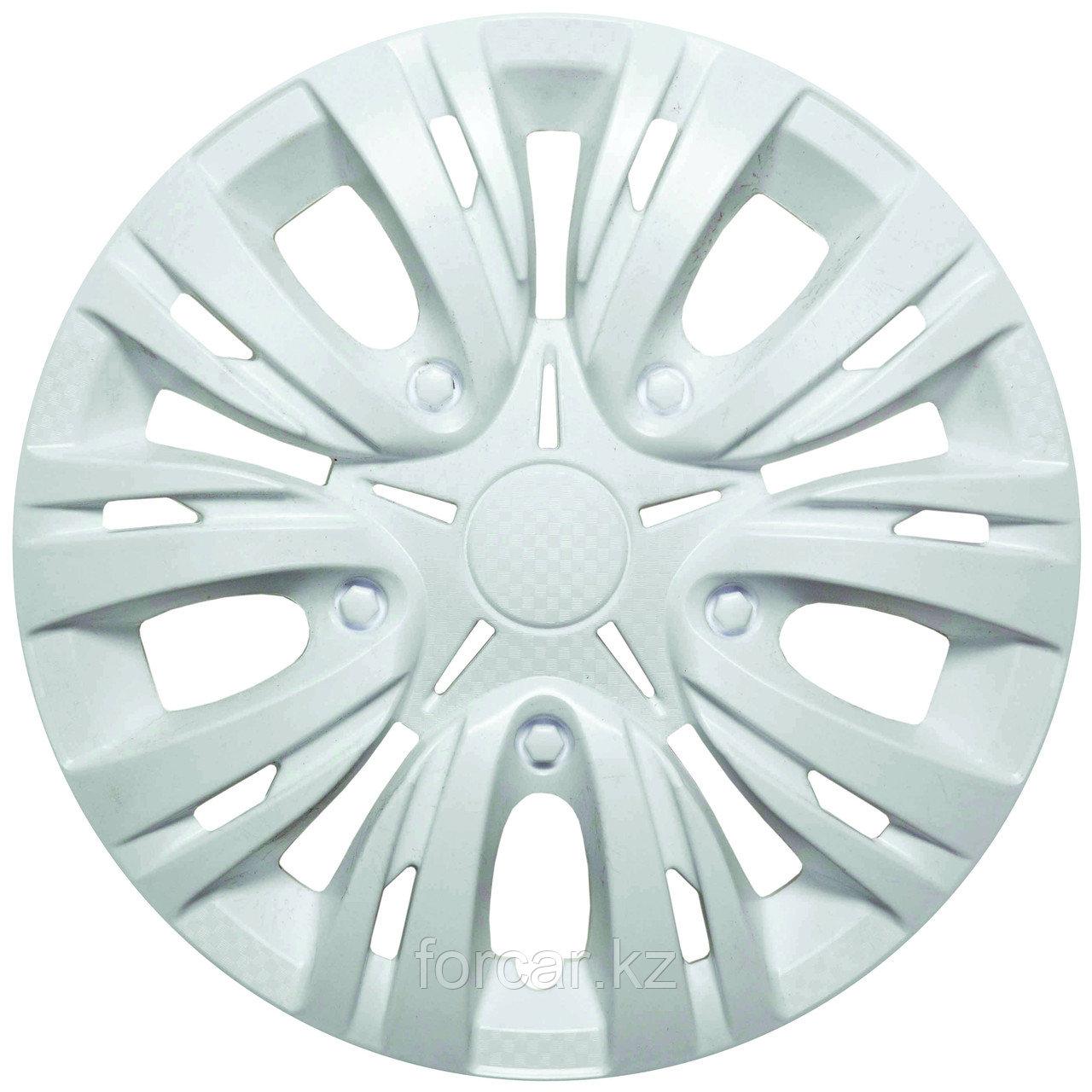 Колпак колесный 15 ЛИОН белый глянец карбон (4 шт.)