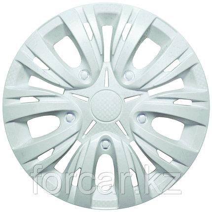 Колпак колесный 15 ЛИОН белый глянец карбон (4 шт.), фото 2