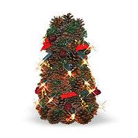 Елка 32 см елка-шишка украшениями и огнями