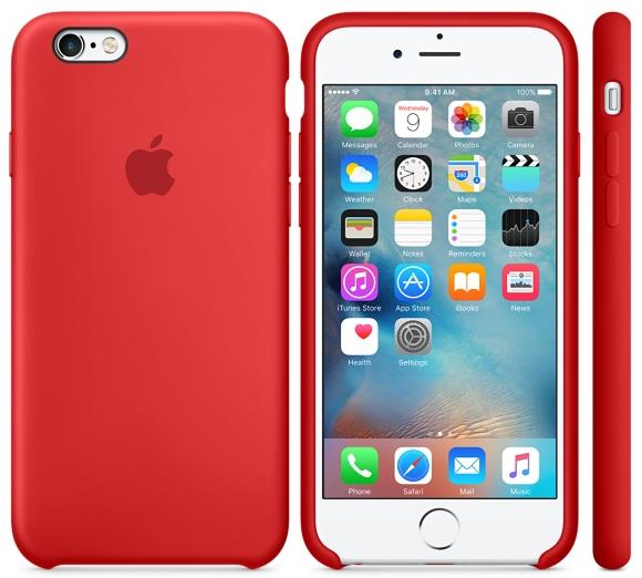 Cиликоновый чехол для iPhone 6s (красный)
