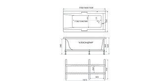 Акриловая ванна АЛЕКСАНДРИЯ-160*75*63, фото 3