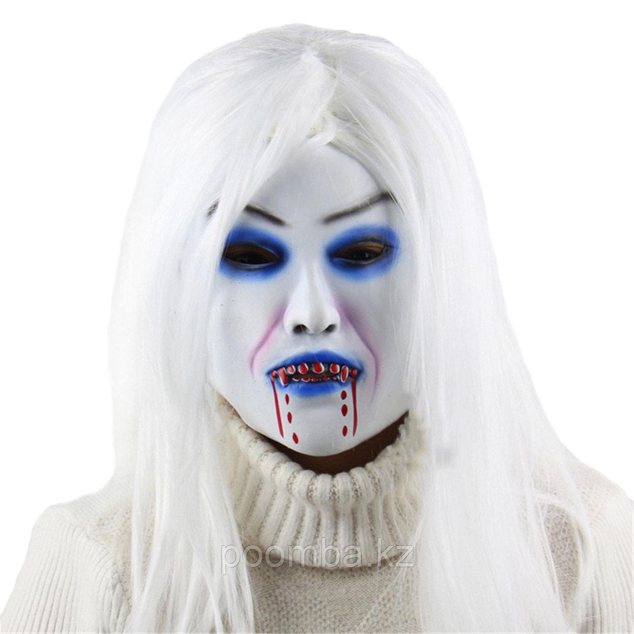 "Маска на хэллоуин ""Зомби с белыми волосами """