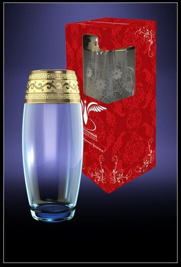 ГУСЬ ХРУСТАЛЬНЫЙ ваза Флора с рисунком Версаче 1500мл