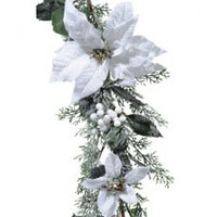 Гирлянда декоративная с белой Пуансеттией KA685172