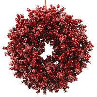 Декорация Венок с красными ягодами d36см KA620002