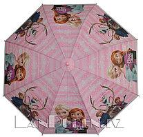 Зонт детский Холодное сердце трость розовый с белым