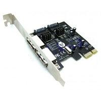 "Контроллер ""PCIe Controller  VIA SATA 3.0V  2 Port +2 Port ESATA  кор-100шт"""