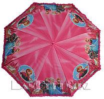 """Детский зонтик трость """"Frozen"""" Холодное сердце (розовый, три героя) с рюшами"""