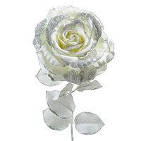 Декор Роза на стебле из шелка белая с блеском h=56см KA628928