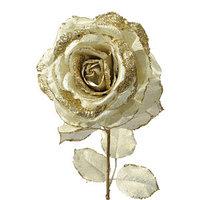 Декор Роза на стебле из шелка золотистая с блеском h=56см KA628927