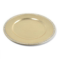 Декоративная тарелка золотая со стразами d=33см