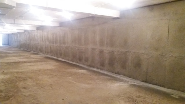 Полная обработка стен паркинга 300м2.