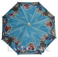 """Зонт-трость детский """"Frozen"""" Холодное сердце (голубой, три героя) со складным пластиковым чехлом"""