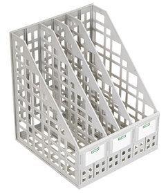 Лоток вертикальный сборный 4 отделений серый, СТАММ