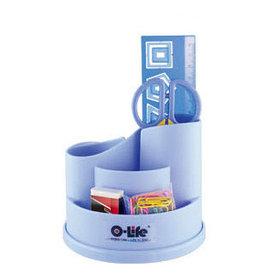 Набор настольный 4 предмета, крутящийся, пластик, голубой O-Life