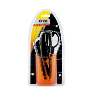 Набор настольный 5 предметов, пластик, оранжевый O-Life