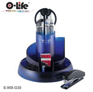 Набор настольный 8 предметов, пластик, синий прозрачный O-Life